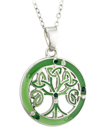 Enamel & Crystal Tree Of Life Pendant