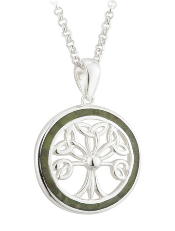 Connemara Marble Round Tree of Life Pendant