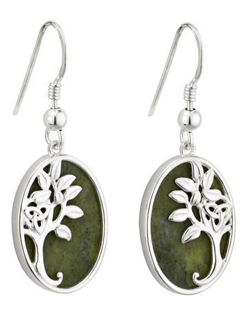 Silver Connemara Marble Tree of Life Drop Earrings