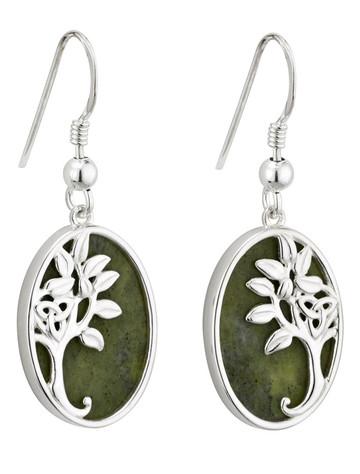 Silver Connemara Marble Tree of Life Drop Earrings