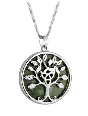 Rhodium Connemara Marble Tree of Life Pendant