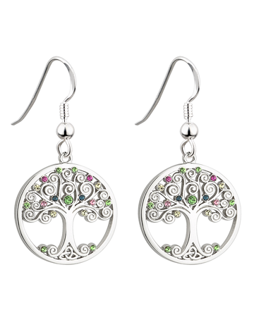 Rhodium CrystalTree of Life Drop Earrings
