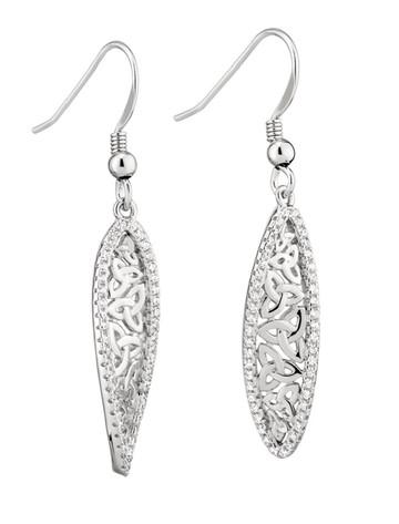 Sterling Silver Trinity Twist Drop Earrings