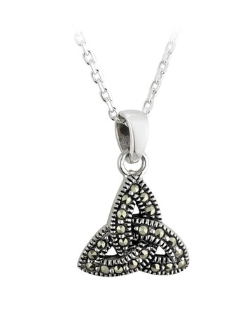 Sterling Silver Trinity Knot Marcasite Pendant