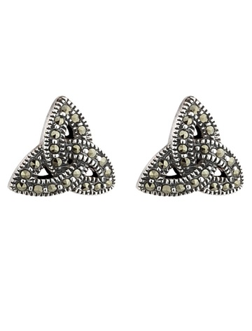 Sterling Silver Trinity Knot Marcasite Earrings