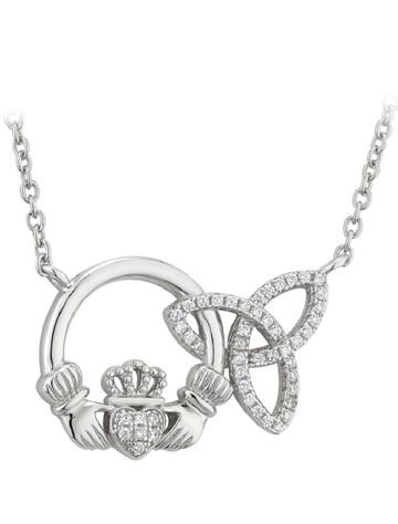 Silver Interlocking Claddagh & Trinity Knot Pendant