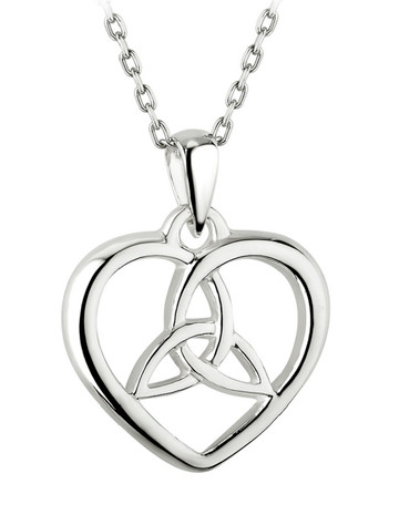 Sterling Silver Heart Trinity Knot Pendant