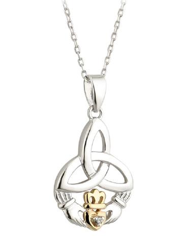 Silver 10K Gold & Diamond Trinity Knot Claddagh Pendant