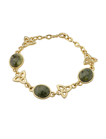 Gold Plated Marble Trinity Knot Linked Bracelet