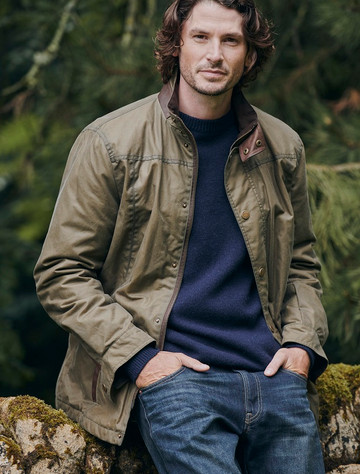 Carrickfergus Men's Waxed Jacket - Dusky Green