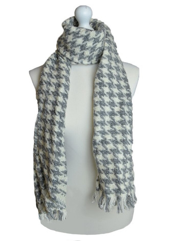 Wool Country Scarf - Grey & Cream