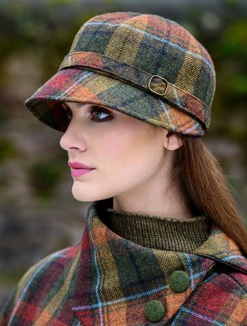 Ladies Tweed Flapper Cap - Autumn Plaid