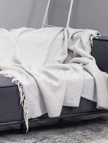 Wool and Cashmere Throw - Light Grey Herringbone