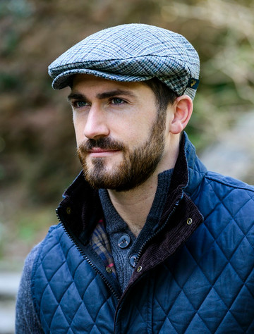 Trinity Tweed Flat Cap - Light Blue & Grey Plaid