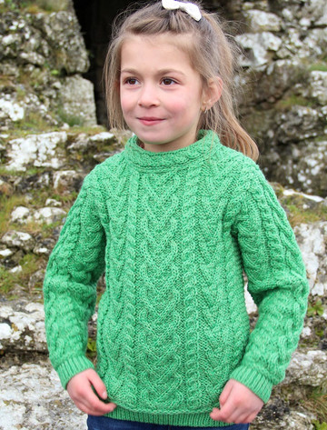 Kid's Heart Design Aran Sweater - Green Marl