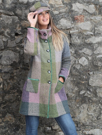 Emma Tweed Herringbone Coat - Donegal Loden