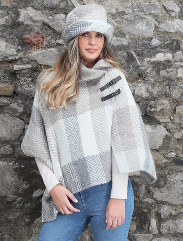 Shawl Collar Herringbone Poncho - Multi Beige