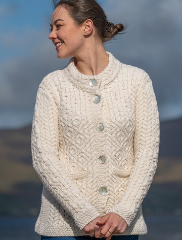 Women's Button Aran Cardigan - Natural White