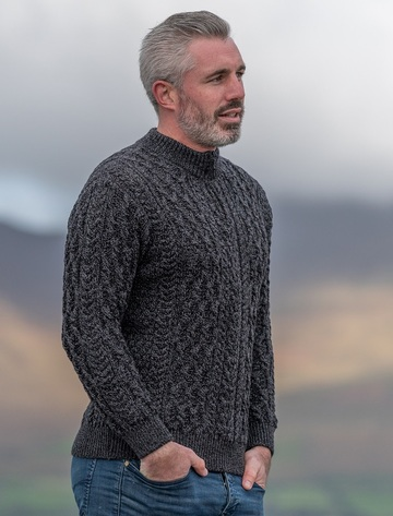 Men's Half Zip Aran Sweater - Anthracite