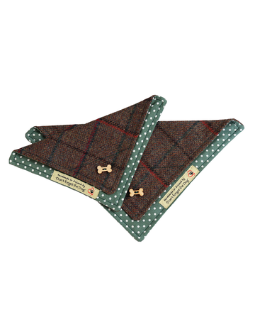 Tweed Doggy Neckerchief Bandana -Brown & Green Plaid