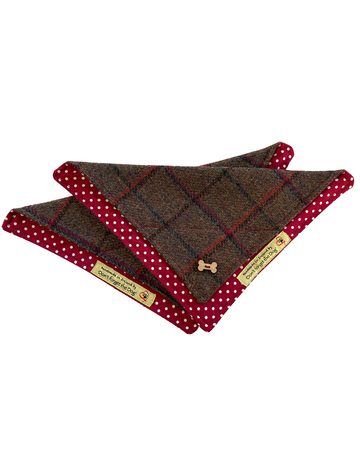 Tweed Doggy Neckerchief Bandana -Brown & Red Plaid
