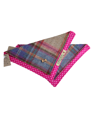 Tweed Doggy Neckerchief Bandana -Pink & Blue Plaid