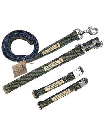Tweed Wool Dog Lead -Two Tone Green & Blue