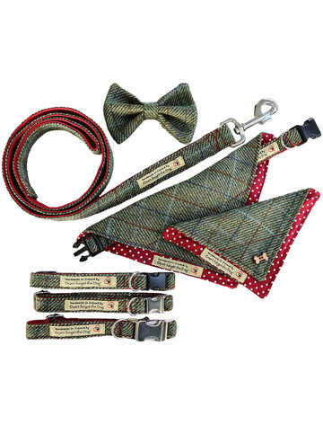 Tweed Wool Dog Lead -Two Tone Green & Red