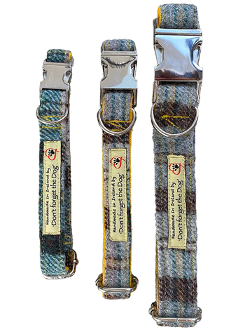 Tweed Dog Collar Metal Buckle - Yellow & Green Plai