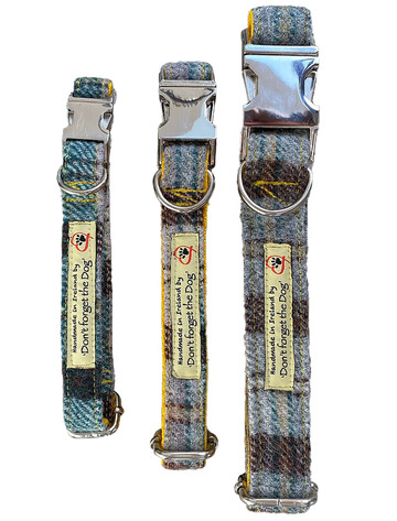 Tweed Dog Collar Metal Buckle - Yellow & Green Plai