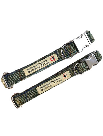 Tweed Dog Collar Metal Buckle - Two Tone Green & Blue