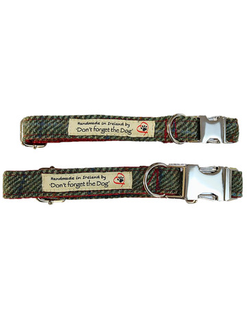 Tweed Dog Collar Metal Buckle - Two Tone Green & Red