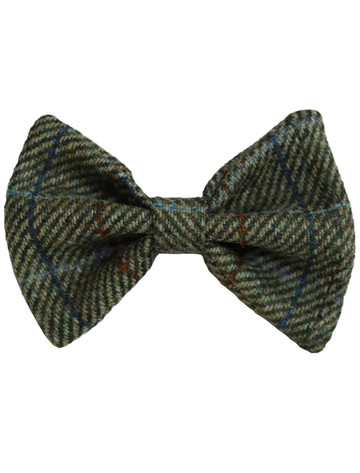 Tweed Wool Dog Dicky Bow -Two Tone Green & Red