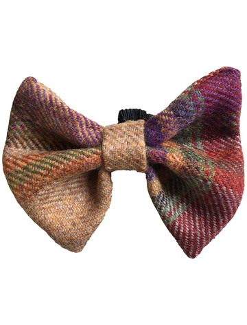 Tweed Wool Dog Dicky Bow - Burgundy Plaid