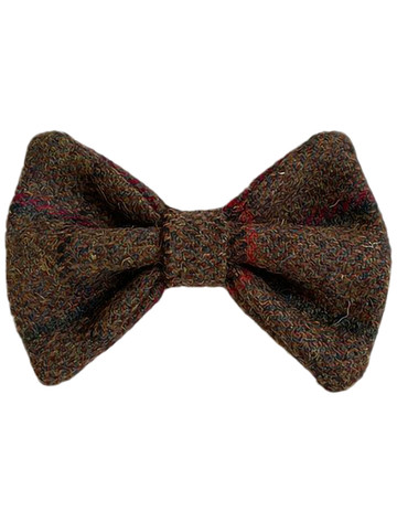 Tweed Wool Dog Dicky Bow - Brown & Red Plaid