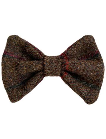 Tweed Wool Dog Dicky Bow - Brown & Red Plaid