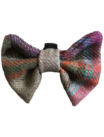 Tweed Wool Dog Dicky Bow - Electric Blue Plaid