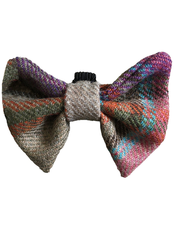 Tweed Wool Dog Dicky Bow - Electric Blue Plaid