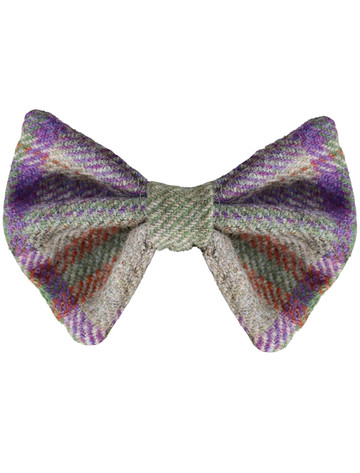 Tweed Wool Dog Dicky Bow - Purple Tweed