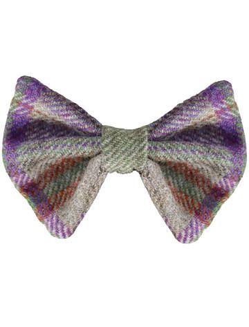 Tweed Wool Dog Dicky Bow - Purple Tweed