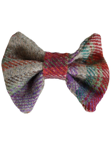 Tweed Wool Dog Dicky Bow - Red & Green Plaid