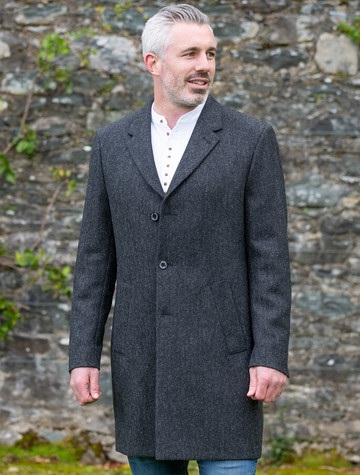 Owen Tweed 3/4 Coat - Grey Herringbone