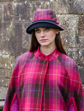 Ladies Tweed Clodagh Cap - Pink Plaid