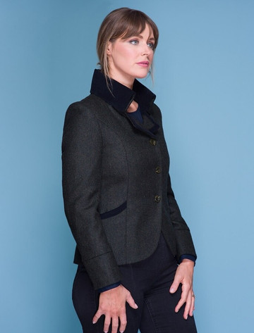 Emer Tweed Blazer - Winning Green Herringbone