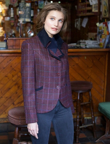 Emer Tweed Blazer - Winter Berry Check