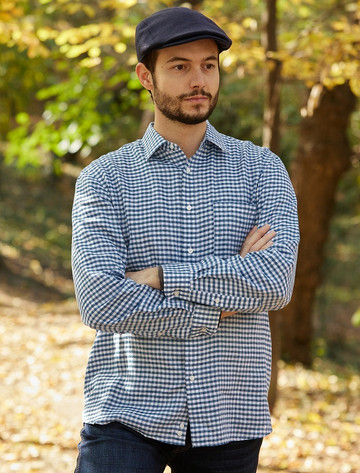 Classic Pure Irish Linen Shirt - Blue Check