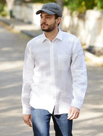 Classic Pure Irish Linen Shirt - White
