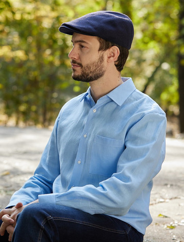 Classic Pure Irish Linen Shirt - Cool Blue