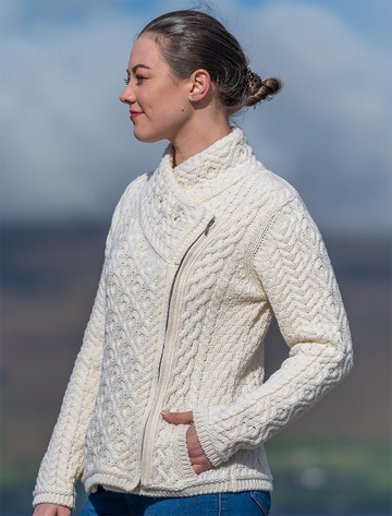Women's Aran Jacket With Side Zip - Natural White