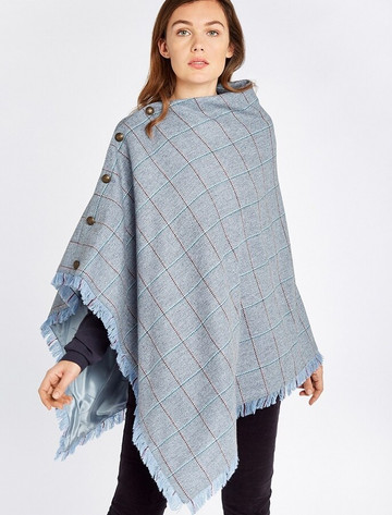 Hazelwood Pure Wool Tweed Poncho - Blue Heather